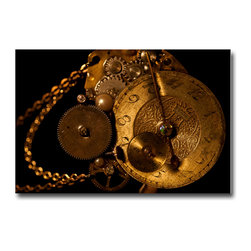 Time Pieces - Canvas, 48x36x3 - This was my grandfather's watch. I used it for a large installation that focused on all the fascinating gears and fonts in this old Elgin. The  piece is printed on a metallic paper which does a great job with the color gold—a notoriously difficult color to reproduce.