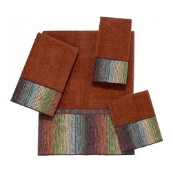 Avanti Linens - Cheyenne 4 Piece Cotton Towel Set by Avanti Linens - Sheared velour towel is 100% cotton exclusive of embellishments. Towel made in Canada, embellished in USA of imported materials. Machine wash warm, tumble dry low. Do not bleach. The color of the towel set is copper.