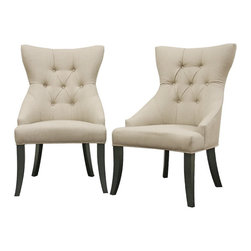 Baxton Studio - Baxton Studio Daphne Neutral Linen Fabric Modern Dining Chair (Set of 2) - Though at times curves are described as being dangerous, the scooped out backrest and gently curved legs on this dining chair are delightful! With elements of traditional and contemporary design, the Daphne Dining Chair beautifully completes a dining area or serves as a perfect pair of accent chairs. Each chair is carefully built with a wooden frame, foam cushioning, and black legs with non-marking feet. Style highlights are the natural-colored cotton/poly blend fabric upholstery, matching piped edging, and covered buttons. The Daphne Chair is fully assembled. also sold as a set of eight chairs (offered separately).