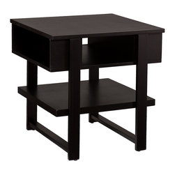 Cloke End Table Black - This black Cloke end table is all about form meeting function. Wide, spacious shelves and deep cubbies provide abundant storage and display space for all the accessories you need kept close at hand. Contemporary, clean lines and a sleek black finish give this occasional table a modern stylish look that makes this table a great complement beside the sofa or a favorite chair.