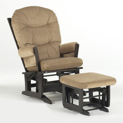 Dutailier - Multipositional Modern Reclining Glider Chair w Ottoman (Light Brown) - Fabric: Light Brown. Exclusive glide system. Top quality sealed ball bearings. Multi position mechanism allows to stop the glider at the desired position. Reclining mechanism allow backrest to fully adjustable. Removable foam cushions and padded arms. Easy care micro fiber fabric. Frame made from hardwood. Minimal assembly required. Espresso finish. Made in Canada. Chair: 31 in. W x 26.5 in. D x 42.5 in. H. Ottoman: 20 in. L x 18 in. W x 14.75 in. HThis Modern glider and ottoman combo offers an exceptionally smooth and extra long glide motion with thick cushions and padded arms. The combination of its contemporary design and espresso finish will add value to any room. There are no sharp edges, the finish is toxic free and this product meets all safety standards.