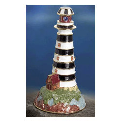 "Godinger Silver - 3.5 Colored Lighthouse Box - Do justice to your jewelry with this dazzling jewelry box. It also adds definition anywhere its displayed. This box with its impressive colors and festive style will add elegance wherever you place it. This jewelry box is good for all your trinkets, treasures, gems and more! Makes a great birthday gift too. Measures approx: 3.5"" high, 2"" diameter."