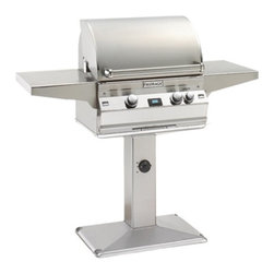 Fire Magic - Fire Magic Aurora A430s Patio Post Mount Grill Multicolor - A430S-1E1N-P6 - Shop for Grills from Hayneedle.com! Save space without sacrificing cooking area with the Fire Magic Aurora A430s Patio Post Mount Grill. This gas grill features a slim pedestal base that doesn't take up much space on your patio. Its generous 432-square inch cooking surface and 50000 BTUs provide serious grilling power. This grill offers you two infrared burners with individual control knobs. The digital thermometer with meat probe and two side shelves make it handy. Add the heavy-duty rotisserie backburner and light (sold separately) for even more outdoor cooking versatility. About Fire MagicFire Magic understands more about the amazing things that happen when flame and good food meet. For the last 70 years they've set out to create the singularly best way to cook food outdoors using the highest-quality materials innovative design and an absolutely relentless pursuit of perfection. With a complete line of luxury-grade grills burners accessories and built-in grill island components Fire Magic is ready to turn your home into the world's best outdoor kitchen.