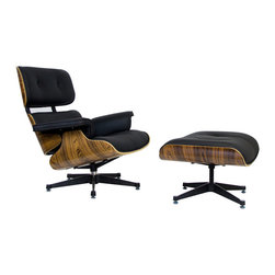 "IFN Modern - Eames Style Lounge Chair w/ Ottoman - Chair Dimensions: 34"" H x 33\"" W x 33\"" DOttoman Dimensions: 16.9\"" H x 25.6\"" W x 20.9\"" DTop grain leather on all parts 