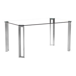 Zuo - Plume Dining Table - The Plume Dining Table is a unique take on the traditional rectangular shape.  The clear tempered glass is thick, heavy and durable and appears to float on top of the four stainless steel legs that support the glass top.  The steel legs are also rectangular in shape, but each leg has a hole cut out for visual interest.  This large dining table easily seats six people and is perfect for entertaining guests.  The Plume Dining Table goes great in a open dining area.  Add almost any dining chair with this table and you will see how easy it is to make a masterpiece in your dining room.