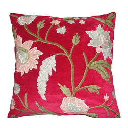 Crewel Fabric World - Crewel Pillow Daisy Red Cotton Velvet 20x20 Inches - Artisans in a remote mountain village in Kashmir crewel stitch these blossoms, vines and leaves by hand, resulting in a lush pattern of richly shaded wool yarns on Linen, Cotton, Velvet, Silk Organza, Jute. Also backed in natural linen, Cotton, Velvet Silk Organza, Jute with a hidden zipper.