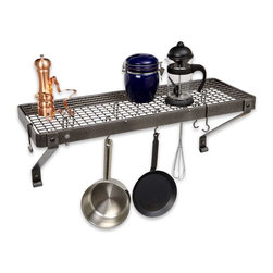 "Enclume - Enclume Deep Bookshelf Rack Pot Rack Hammered Steel, Hammered Steel - A hit from the moment Enclume introduced them!  These racks keep your cookware, cookbooks, and other necessities at your fingertips.  The arms can be rotated to support rack from the bottom.  Includes matching grid.  Product Info: PR8a: 36""L X 13""W X 17""H  Mounts on 32"" centers  12 angled hooks  Shipping weight 25 lbs.     In our best effort to improve product shipping times, this product is drop shipped from the manufacturer's warehouse."
