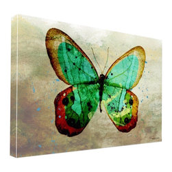 """Apt2B - Butterfly Print by Maxwell Dickson, 24"""" X 36"""" - Let this canvas unfurl its wings and transform your quiet wall into a thing of beauty. Vibrant colors and a tonal background are printed on archival museum-quality canvas and finished with gallery-wrapped edges that are ready to hang. A stunning specimen, to be sure."""