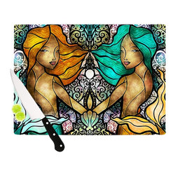 "Kess InHouse - Mandie Manzano ""Mermaid Twins"" Cutting Board (11"" x 7.5"") - These sturdy tempered glass cutting boards will make everything you chop look like a Dutch painting. Perfect the art of cooking with your KESS InHouse unique art cutting board. Go for patterns or painted, either way this non-skid, dishwasher safe cutting board is perfect for preparing any artistic dinner or serving. Cut, chop, serve or frame, all of these unique cutting boards are gorgeous."