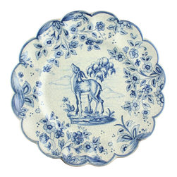 EuroLux Home - Consigned Vintage Hand-Painted Spanish Plate Blue & White - Product Details