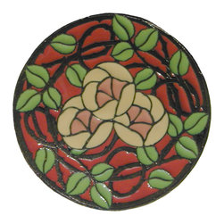 Period Pieces - Delaney's Rose Pull in Dark Brass with Coral Flowers Enamel