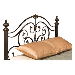 Hillsdale Furniture - Hillsdale Grand Isle Headboard in Brushed Bronze - Queen|No - Refined and imposing, Hillsdale Furniture's Grand Isle bed combines sweeping scrollwork with delicate castings and commanding posts and finials to create a style that is  graceful yet substantial. Featuring a versatile brushed bronze finish and impressive matching side rails, the Grand Isle bed is a perfect additional to your master or guest bedroom. Fully welded construction boasting foundry poured aluminum castings and heavy gauge tubular steel.