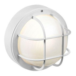 Newport Coastal - 8 in. Flush-Mount Outdoor White Incandescent Round Nautical Light with Grille - Shop for Lighting & Fans at The Home Depot. The Newport Coastal Exterior Flush-Mount White Incandescent 8 in. Round Nautical Light with Grille is a classic style combined with long lasting non-corrosive technology makes it a perfect answer for outdoor lighting in any climate. This light has a great low profile design, perfectly accented by the cage and frosted diffuser.