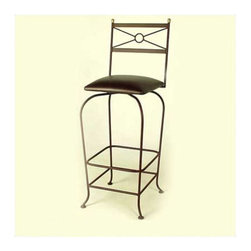 """Grace - 30"""" Upholstered Flourish Bar Stool w/ Swivel - Features: -Painted according to your choice of metal finish. -Ships fully assembled. -Swivel seat. -Dimensions: 18"""" W x 20"""" D x 49"""" H. -Seat height: 30"""". -Artistically crafted in wrought iron. -Available in 12 designer metal finishes. -Suited for Residential use only."""
