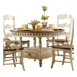 Hooker Furniture - Hooker Furniture Summerglen Round Dining Table with Leaf in Antique White - Hooker Furniture - Dining Tables - 47975201 - Summer Glen is a casual country dining group crafted in hardwoods and adorned with a soft antique white hand painted finish with warm sage undertones and offering contrasting cherry veneer table tops. Turned spindles and posts and a lattice-motif on the table aprons convey the casual country feeling. Special cherry veneers with natural imperfections create the look and feel of a solid cherry antique.