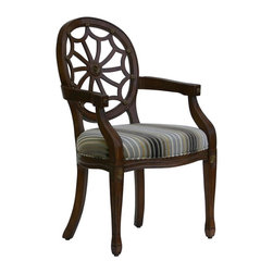Comfort Pointe - Addison Accent Chair in Cherry Finish - Made from solid wood. French style. Traditional spider back. Intricate detailed hand carvings. Chenille fabric seat with natural, cream, gold and dark pewter stripes. Warranty: One year limited. Assembly required. Seat height: 20 in.. Overall: 24.5 in. W x 23.5 in. D x 38 in. H (21.8 lbs.)This Accent chair is the essence of elegance. This chair is sure to be a staple in your home for years to come.