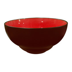 Waechtersbach - Duo Set of 4 Soup/Cereal Bowls Duo Chili - Take a break from convention with this handsome set of four soup or cereal bowls. Made of porcelain that's been treated with a ceramic glaze, each bowl is matte chocolate on the outside and glossy red on the inside, bringing a welcome pop of color to the table.