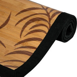"""Oriental Unlimited - Tropical Leaf Bamboo Rug (48 in. L x 72 in. W - Choose Size: 48 in. L x 72 in. WThis Bamboo rug with its """"Tropical Leaf"""" design is an economic and green addition to any household. It is made of all natural bamboo, a renewable resource, so it is good for the home and good for the earth. Features a non-slip latex backing, so it does not require a carpet pad. Surrounded by a black cotton border. Bamboo is fully varnished with a subtle shine. Kiln-dried bamboo is carbonized to prevent cracking and warping. Made of a mature bamboo, whose longer growth period ensures extra strength, tighter fibers and a harder surface. 24 in. L x 36 in. W. 48 in. L x 72 in. W. 60 in. L x 96 in. W"""
