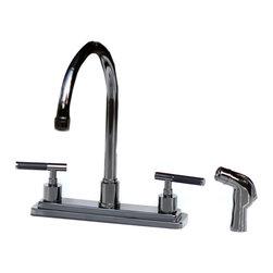 Kingston Brass - Black Onyx 8 Center Kitchen Faucet Lever Handle Sprayer Kingston NS8790DKLSP - Black Onyx 8 in Center Kitchen Faucet Lever Handle + Sprayer Kingston Brass NS8790DKLSP