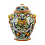 Artistica - Hand Made in Italy - MAJOLICA DELFINO: Orcetto urn with side rings and lion heads. - MAJOLICA DELFINO: