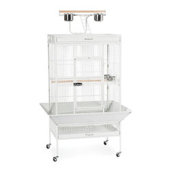 """Prevue Hendryx - Signature Series Select Wrought Iron Cage - 30x22x63 - Select Signature wrought iron cage includes top and bottom pull out drawers, and bottom pull out grille, 4 stainless steel cups, top playpen and rounded seed guards, and cage stand with easy-rolling casters. All cages have heavy duty push button door lock, and 2 wooden perches. The cages are available in 8 different powder-coated colors, 5 non-toxic powder coated hammer tone finishes: - black, chalk white and pewter, Coco, Sage & 2 non-toxic shiny, brilliant finishes: - Garnet Red and Cobalt Blue. -Available in black, chalk white, coco, sage green, and pewter. -Includes top and bottom pull out drawers, and bottom pull out grille, 4 stainless steel cups, top playpen and rounded seed guards, and cage stand with easy-rolling casters. -Blue, Red and Jade come with hoop ladders, while the other colors have a single, flat bar ladder.. -The heavy duty push-button door lock ensures your pet's safety. -Measures 30"""" L x 22"""" D x 63"""" H. -0.75"""" wire spacing. -90 day warranty."""