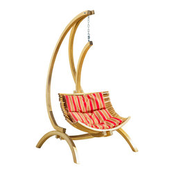Great Deal Furniture - Hendrick Wooden Hanging Chair Swing w/ Brown and Red Cushion - The Hendrick  Wooden Swinging Hanging Chair makes the perfect addition to any outdoor space. Complete with the chains and beam to support it, this chair will have you swinging in bliss beneath your favorite tree or outdoor space. This chair swing comes with a removable cushion that ties to the seat for extra comfort. A perfect seat to read a book, be with someone special, the Hendrick hanging chair will enhance your outdoor leisure experience.