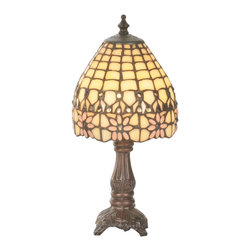 Meyda Tiffany - Meyda Tiffany 49190 Victorian Flourish Traditional Tiffany Mini Table Lamp - The Victorian Flourish design depicts Pink daisies on Sunlit Beige scalloped art glass, with Clear jewel accents. The exquisite shades are complemented with warm Mahogany Bronze finish hardware.