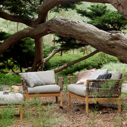 Outdoor Furniture Collection 2014 - Hutt Lounge chair and 2.5 seat lounge in Basics Paperbark, Scatter cushions in Botanicals range