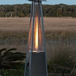 Fire Sense - Pyramid Flame Propane Patio Heater - New patented Pyramid Flame Propane Patio Heater brings a new dimension to outdoor heating. This stylish unit provides a uniquely visual flame while providing heat in every direction. This attractive piece of patio art will be the focal point of any outdoor setting. This high quality unit features a tip over protection system for your safety. Features: -Reliable Piezo igniter.-Stainless steel burners and heating grid.-Uses standard 20 lb LPG BBQ tank (not included).-Safety auto shut off tilt valve.-Convenient wheel.-Consumption rate (Approx) 10 hrs for 20 lb LPG tank.-Stainless steel construction.-Rated at 40,000 BTUs.-Finish: Stainless steel.-Distressed: No.-Powder Coated Finish: No.-Hardware Material: Steel.-Freestanding Heater: Yes.-BTU Output: 40,000 BTU.-Ignition Type: Electronic.-Burn Time of Fuel Accommodated: 10 hours.-Anti-Tilt Safety Device: Yes.-Adjustable Height: No.-Portable: Yes.-Indoor Use: No.-Commercial Use: Yes.-Product Care: Clean with soft cloth once cooled down.Specifications: -CSA Certified: Yes.Dimensions: -Overall Product Weight: 65 lbs.Assembly: -Assembly Required: Yes.-Tools Needed: Screwdriver.Warranty: -Product Warranty: 1 year.