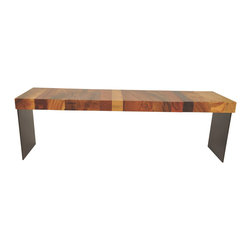 Rotsen Furniture - Salvaged Hardwood Bench - Metal Base - Contemporary bench made with solid pieces of reclaimed hardwood and powder coated metal base. Shown in a combination of salvaged Tamburil, Mango, Oak, Black Walnut and powder coated steel.
