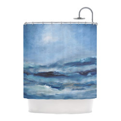 """Kess InHouse - Iris Lehnhardt """"Rough Sea"""" Ocean Blue Shower Curtain - Finally waterproof artwork for the bathroom, otherwise known as our limited edition Kess InHouse shower curtain. This shower curtain is so artistic and inventive, you'd better get used to dropping the soap. We're so lucky to have so many wonderful artists that you'll probably want to order more than one and switch them every season. You're sure to impress your guests with your bathroom gallery in addition to your loveable shower singing."""
