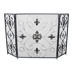Zeckos - Fleur De Lis Decorative Metal Scrolled Mesh 3 Panel Fireplace Screen - Not merely just functional pieces, fireplace screens can be a major statement about your room's decor and your personality Fireplaces are fabulous, but set this 3-panel Fleur De Lis inspired scrolled metal mesh fireplace screen in front of it, and it can transform the room, (or cabin hideaway) into something truly beautiful Sculpted from metal with a lightly weathered matte black wrought iron finish, this 31.5 inch high (80 cm) screen boasts a 28 inch long (72 cm) center panel and 12 inch long (30 cm) side panels to fit most standard sized fireplaces, and folds flat for compact storage. This decorative Fleur De Lis fireplace screen is great as a housewarming gift sure to be appreciated