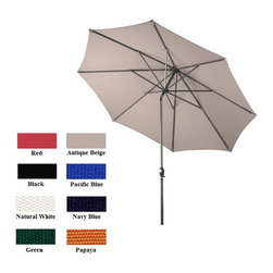 None - Premium Olefin 9-foot Aluminum Patio Umbrella - This stylish nine-foot round aluminum patio umbrella features a deluxe heavy duty Olefin fabric with durable champagne pole and ribs. This classic patio umbrella offers a convenient crank open/push tilt mechanism for added ease of use.