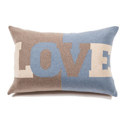"Rani Arabella - Rani Arabella Azure Love Cashmere Blend Pillow, Azure - Add a fun, bold print to your living or dining room using the Love Cashmere Blend Pillow. Made from 70% cashmere and 30% wool, this pillow features the word ""Love"" in large type against taupe and blue color blocking. Pair it with cool colors for a cohesive, but eye-catching look. Includes a 50% down and 50% polyester insert. Dry clean only. Made in Italy."