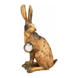 Expo Inc. - Rabbit Statue with Pocket Watch Clock - -Made from hand finished cast resin.  -Battery Included  - Pocketwatch has a 2-Inch Diameter Expo Inc. - 5009