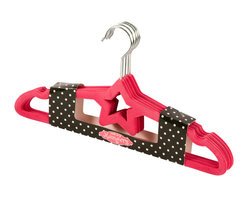 Enchante Accessories Inc - Non-Slip Kids Clothes Star Hangers, Set of 5, Fuschia - Hang clothing neatly in your little one's closet with this set of 5 baby hangers from Sheffield Home.  These non-slip baby hangers have a small shape and a super slim design with a non-slip fabric coating that holds clothing in place and prevents even wide-neck garments from slipping off and landing on the closet floor.  The small silver hanger hooks and the slim profile of the hanger itself makes it easy to maximize storage space inside a small childメs closet.