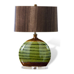 "Kathy Kuo Home - Ozark Olive Green Ceramic Acrylic Wood Shade Modern Lamp - ""A sleek, colorful addition to the modern interior, the Ozark Ceramic Lamp features a round form finished in asymmetrical horizontal bands of olive green, forest green and caramel.  Complemented by a chocolate lampshade and supported by a clear acrylic base that disappears against your existing d�cor, the Ozark Lamp will look great accompanied by other earth tones or shades of green."