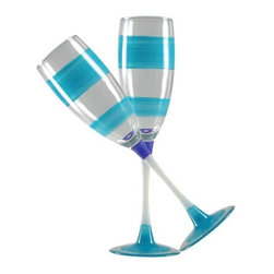 Retro Stripe Turquoise Champagne Glasses  Set of 2 - This lovely hand painted champagne flute is in a retro style.  It is turquoise with accent colors.  Perfect for any season or occasion.  Something to be handed down from generation to generation.  Proudly hand painted in the USA.