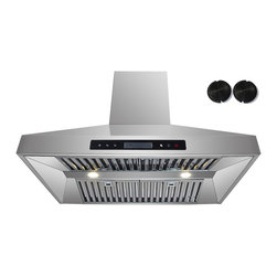 GOLDEN VANTAGE - GV 36-Inch Stainless Steel Wall Range Hood W/Carbon Filter For Ductless Option - Our Contemporary Europe design range hoods capture the most pollutants, grease, fumes, cooking odors in a quiet way but maintain a strong CFM From 300-900 depends on the style or model you choose. GV products not only provide top notch quality of material, we also offer led lighting, quite chamber blower,adjustable telescopic chimney. All of our range hoods can convert to ventless/ductless options if outside exhaust not permitted.    Features: