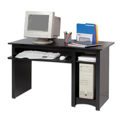 Prepac - Home Computer Desk in Black - * One roll-out keyboard tray. One bottom shelf and one adjustable shelf. Warranty: Five years. Made from CARB-compliant, laminated composite woods. Made in North America. Assembly required. Side opening:  9.75 in. W x 20.5 in. D x 22 in. H. Overall: 48 in. W x 23.5 in. D x 29 in. HEvery office needs a computer desk, so why compromise on value or features? Solidly designed with minimalist lines, this desk fits both your decor and your budget. Coordinate with matching wall mounted desk hutch