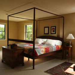 Beds - Beautiful black walnut four poster canopy bed handmade by Seth San Filippo at Urban Lumber Company from locally salvaged trees