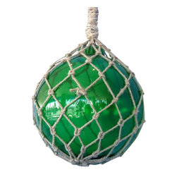 """Handcrafted Nautical Decor - Green Nautical Glass Float 11"""" - Glass Float - A glowing modern recreation of a nautical and fishing classic, this Green Nautical Glass Float 10"""" is the perfect piece of nautical wall art, gorgeous whether in your home or office. Enjoy the charming inner warmth as lights play through the glass bauble, perfectly contrasted with the authentic fishing rope holding it in place. Mesmerizing and enchanting, enjoy the historic wonder and brilliant style of this Green Nautical Glass Float 10"""" glass float each and every day."""