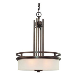 Dolan Designs - Multnomah Heirloom Bronze Three-Light Pendant - -White Linen  -6 ft. of chain  -7 ft. of wire  -Canopy Size: 5 x 3/4 D Dolan Designs - 2884-62