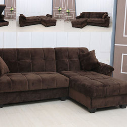 Modern Tufted Brown Microfiber Sectional Sofa Storage Couch Chaise Bed - Features