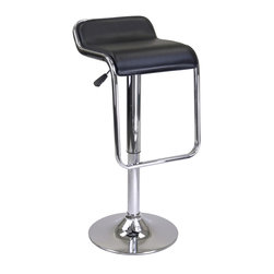 Winsomewood - Oslo Air Lift Bar / Counter Stool Black - Add this unique and distinct oslo adjustable airlift stool to your home. It features faux leather seat that swivels with a chrome metal frame to form a foot rest.