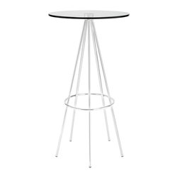 LexMod - Sync Bar Table in Clear - Five chrome plated steel legs join together in unison with a modern bar table timed perfectly right for your gatherings. Topped with a tempered glass surface and outfitted with a footring near the base, Sync is a seamless piece that is both minimalist and delicately elaborate. Perfect for modern bar settings and lounge areas.