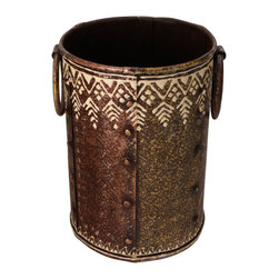 Cultural Elements - Embossed Iron Vase: Copper and Bronze Finish - Copper and Bronze finished iron vase with ivory colored embossed patterning.  Constructed of vertical sections joined with rivets. Handmade in the princely state of Rajasthan and finished in the traditional craftsmanship of Rajasthan.