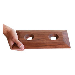 Apt2B - Cupa Walnut Tray for 2 - This walnut tray is made to perfectly hold two Swirling Wine Glasses in place. You could feel pretty special if someone presented a drink on this tray, and what a considerate gift it would make paired with the glass set.