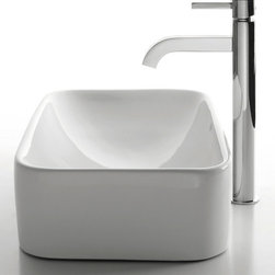 Kraus - Kraus C-KCV-122-1007CH White Rectangular Ceramic Sink and Ramus Faucet - Add a touch of elegance to your bathroom with a ceramic sink combo from Kraus