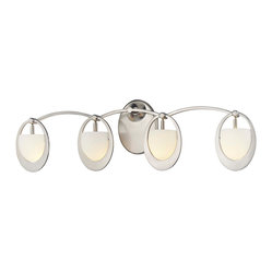 "George Kovacs - George Kovacs Earring Collection 26 1/2"" Wide Bathroom Light - This graceful fixture sparkles with an earring inspired design. This ultra modern look is like jewelry for your decor! This bathroom wall light features a brushed nickel finish and etched opal glass. A stunning design from George Kovacs. Brushed nickel finish. Etched opal glass. Includes four 40 watt G9 xenon bulbs. 8"" high. 26 1/2"" wide. Extends 5 1/2"" from the wall.  Brushed nickel finish.   Design by George Kovacs.  Etched opal glass.   Includes four 40 watt G9 xenon bulbs.   8"" high.   26 1/2"" wide.   Extends 5 1/2"" from the wall."